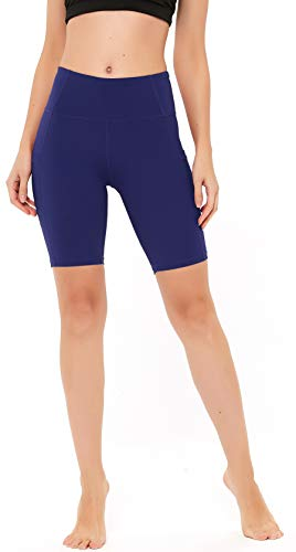 """Women's Running Shorts High Waist Yoga Workout Compression Exercise Shorts Side Pockets 8"""" L Purple"""
