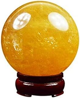 4cm Natural Citrine Calcite Quartz Crystal Sphere Citrine Ball Healing Gemstone +Wooden Stand