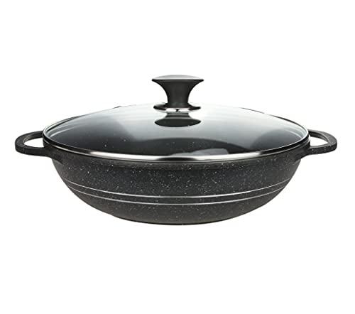 Sonex 32cm Die Cast Premium Coated Kadai / Karahi Karahi Kadhai Wok Cooking Pot with Glass Lid