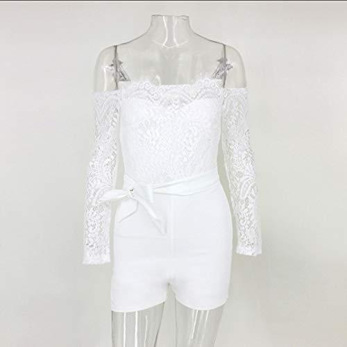 HOSD Slim Langarm Lace Neck Lace Jumpsuit Damen
