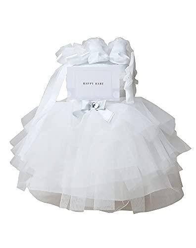 おむつケーキ研究所 おむつケーキ 女の子 出産祝い ドレス ベビーシャワー チュチュ オムツケーキ スカート ヘアバンド ソックス ギフトセット ダイパーケーキ ホワイト ナチュラルムーニー オーガニックコットン(テープタイプSサイズ)