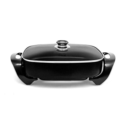 "Caynel Professional Aluminum Non-stick Electric Skillet Jumbo 16"" x 12""x 3"",with Glass Lid, 16 Inch, Black (Black)"