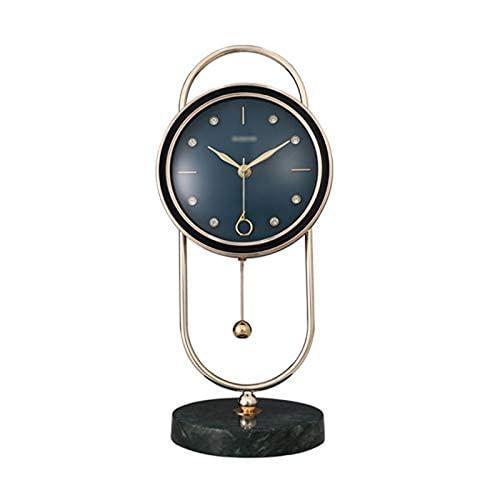 Wideocean Horno Corto Reloj de mármol de Lujo Reloj de Lujo Reloj de la Sala de Estar de la Moda Péndulo Decorativo Péndulo Tablero Escanear Escanear Escritorio Deporte Bell Bells Bells Old
