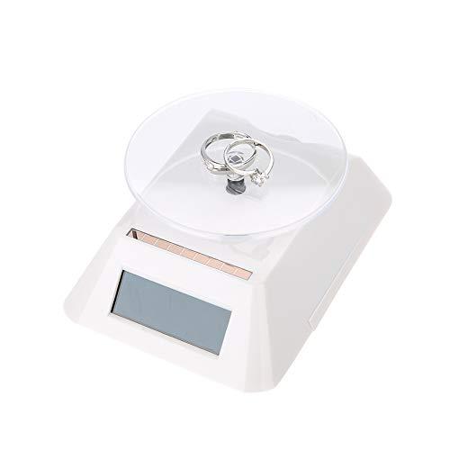 Solar Power Display Stand, 360 Grad drehbare Schmuckvitrine, LCD Plattenspieler Schmuckuhr, Handy Display Ständer, mit Solarmodul Drehhalter Basis