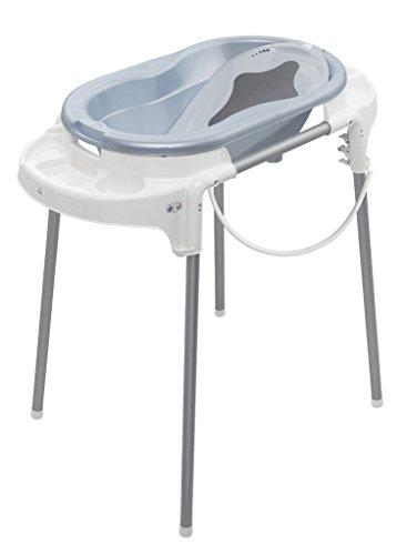 Rotho Babydesign TOP Badestation, Mit Baby Badewanne, Wannenständer, Wanneneinsatz und Ablaufschlauch, 0-12 Monate, Blau, 21042 0238 01