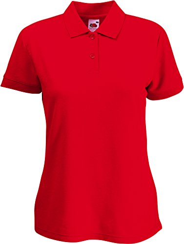 Fruit of the Loom Damen Lady-Fit Poloshirt 65/35 Rot M
