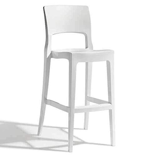 Easy - Chaise de Bar Confortable au Design Sobre Blanc