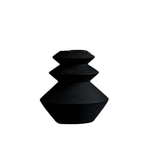 Portavelas Candelabro Decoración Mesa Cerámica Decoración Geometría Set Romántico Panal Vela Sin Humo Modelo Casa (Color : Black-Small)
