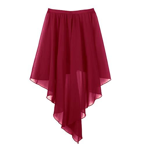 TiaoBug Falda Tul Mujer de Danza Ballet Falda Larga Irregular Cintura Elástica para Baile Gimnasia Ropa Danza Contemporánea Vientre Sevillanas Niñas Mujeres Wine_Red One_Size