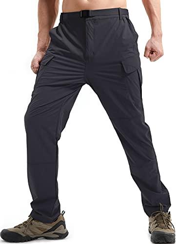 DAFENP Pantalones de Trabajo Trekking Hombre Elasticos Pantalones Cargo Montaña Senderismo Alpinismo Ligero Secado Rápido Transpirable Aire Libre KZ511M-Grey-L
