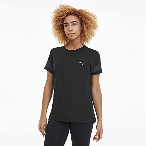 PUMA Damen Feel It Mesh Logo Tee T-Shirt, Black, XL