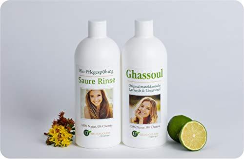 Lavaerde/Ghassoul-Vorratspackung - für die chemiefreie Haarpflege und Körperhygiene: 500ml Wascherde-Fertigmischung, 500ml Saure Rinse im Geschenkpaket/Pflegeset Tonerde Tonpulver Rhassoul