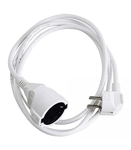 Prolongador Cable Electrico 5 metros. Alargadera 16 A. 3500 W. Conexión Sucko 3 Polos + Tierra. Color Blanco