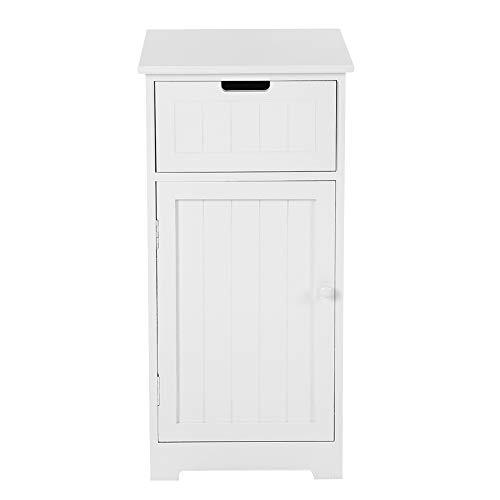 Cocoarm badkamerkast, badkamerkast van hout, bijzetkast met 1 schuifladen en deuren, badkamerrek, hoge kast voor badkamer, keuken en hal