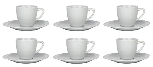 Retsch Arzberg - Juego de 6 tazas de espresso de 100 ml con platillos de porcelana de alta calidad en calidad gastronómica.