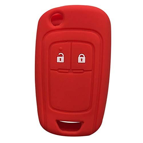 LOOIUEX Silicone Key Cover Carcasa de Silicona con Mando a Distancia para Llave de Coche para Opel Astra J Corsa D Zafira C Mokka Insignia Cascada Karl Adam Meriva Funda para Llave, Rojo