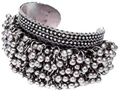 Abhaah Oxidised German Silver ghungroo Cuff Bracelet Traditional kada Bangle for Women (1 pc) Tribal Jewelry, Oxidize...