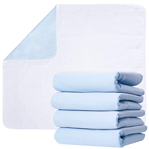 Washable Underpads, Pack of 4 Large Bed Pads, 34' x 36', for use as Incontinence Bed Pads, Reusable pet Pads, Great for Dogs, Cats, Bunny & Seniors by Green Lifestyle (4 Pack 34x36)