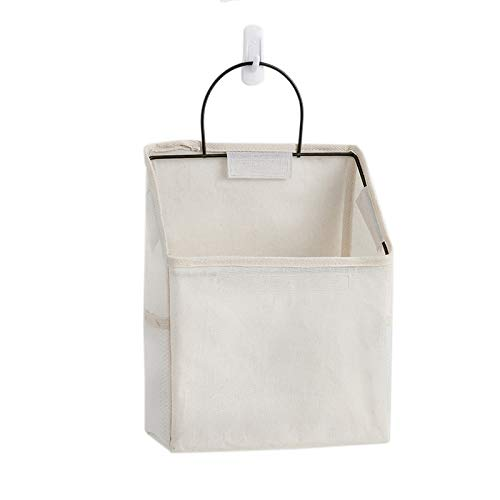 Wall Hanging Storage Bag Waterproof Over The Door Closet Organizer Hanging Pocket Linen Cotton Organizer Box Containers for Bedroom Bathroom White