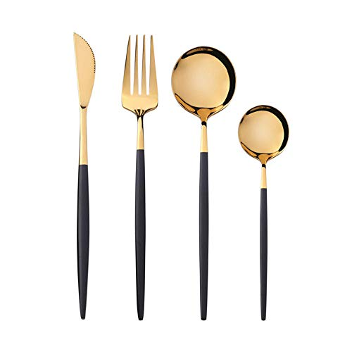 OUDEING Casa Vajillas Conjuntos de Cubiertos de 24 Piezas, 6 x Tenedores y 6 x Cuchillos de Cena y 6 x cucharas de Cena, 6 x cucharaditas, Fino pulido-32pcs Negros