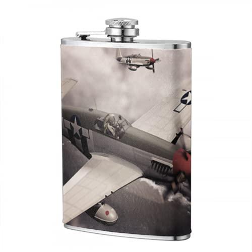 Frascos de 8 onzas para licor, mujeres, modelo 3d oculto de avión en vuelo, frasco de acero inoxidable, frasco para hombres, mujeres, frasco para viajes, senderismo, acampada