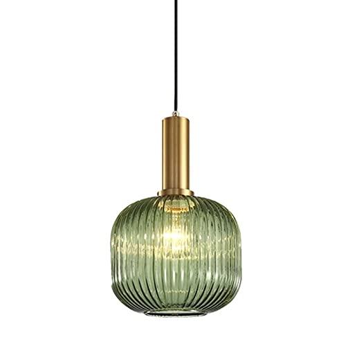 Accesorio de iluminación Moderno Minimalista Sala de estar LED Lámpara de techo Verde Semilla de cristal Shade Chandelier Creativo Personalidad Bar Restaurante Dormitorio Cocina Colgante Lámpara E27 L