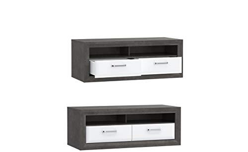 Tv Schrank Lennox New MRYT121, Unterschrank, Lowboard, Fernsehenschrank mit 2 Schubladen, Betonoptik mit Weiß Hochglanz