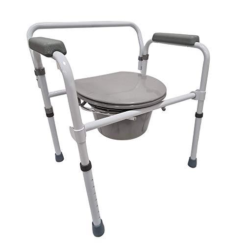 Sedia wc Per anziani-sedia comoda schienale rimovibile-Vaso da Notte-Acciaio Verniciato bianco-Seduta Antiscivolo-Portata Max136 kg-Ba50P