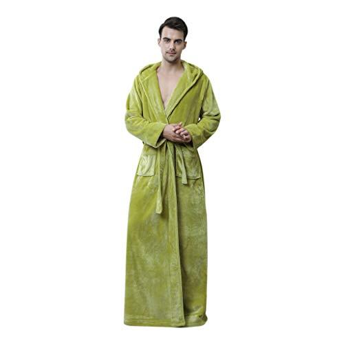 Dasongff - Albornoz unisex con capucha, de forro polar, largo, cálido, suave Verde para hombre. XL