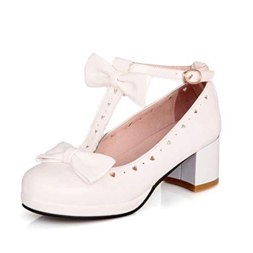 Zapatos de tacón de Mujer con Nudo de Mariposa Dulce Lolita Mary Janes Zapatos Soild Punta Redonda Hebilla Correa Boca Baja Plataforma Tacones medianos