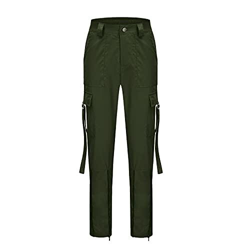 Grace&Nora Pantalones de cintura alta para mujer Casual Color sólido/Plaid Impreso patrón largo cargo pantalones con bolsillos, Ejercito Verde, XXL