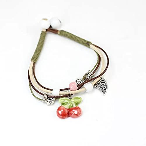 Pulsera y brazalete con patrón de fruta de cerámica, pulsera simple femenina, pulsera de cuerda de varios pisos, joyería de moda con estrella de mar y hoja de aleación regalo de cumpleaños