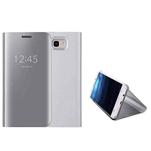 Anfire-ES Funda para Samsung Galaxy J5 Prime, Inteligente Case para Samsung J5 Prime, Flip Piel Carcasa de Espejo, Transparente Tapa Auto Sueño/Estela 360 Protección Lujoso Cover Smart Case - Plata