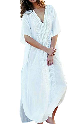 L-Peach Kaftan Vestido Largo de Playa para Mujer, Blanco, Talla única