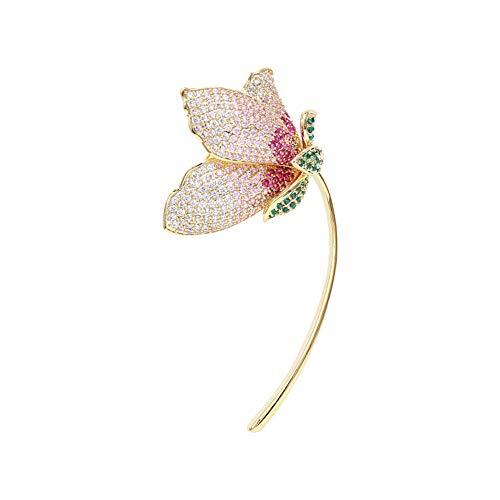 eLy Elegante Broche Floral, Accesorios de Ramillete, circón Brillante, Moderno y de Alta Gama, Adecuado para Damas, Accesorios, Regalos, Rosa Degradado