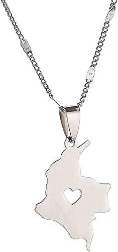 WYDSFWL Collar de Acero Inoxidable con Colgante de Tarjeta de Colombia, Collar para Mujer, Mapa de Cadena Colombiana, Collar de joyería, Longitud 50 cm, Regalos