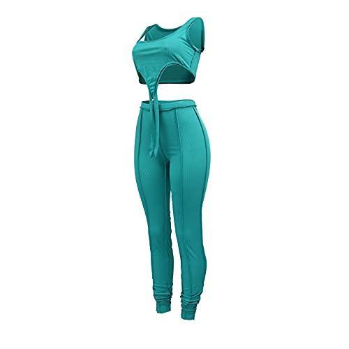 Conjunto de chándal de 2 piezas para mujer, sin mangas, ajuste delgado, pantalones ajustados, ropa deportiva, entrenamiento