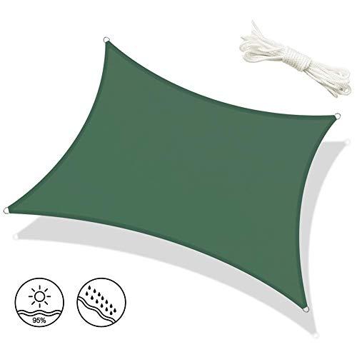 Dalovy Jardin Sun Shade Sail Awning 4X6M Étanche Écran Solaire Abri Auvent Rectangle 95% Bloc UV avec Corde Gratuite, pour Patio Extérieur, Vert, 4X6M