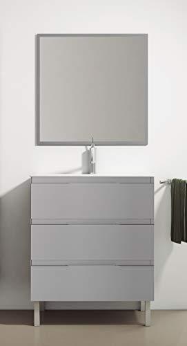 Juego de Mueble de Baño Modelo Austria Porcelana, Conjunto formado por Mueble de Baño Lacado en Gris Ancho 80cm, Lavabo de Porcelana y Espejo a Juego