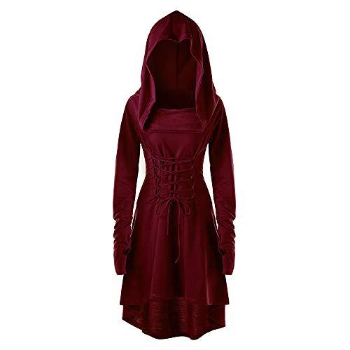 Holywin Costumes Pull Vintage À Capuche À Lacets Cape Longue pour Femmes