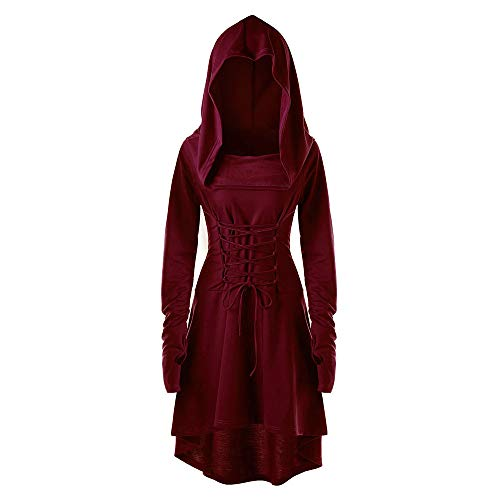Women Hooded Sweatshirt Dress Long Sleeve Bandage Medieval Vintage Lace Up High Low Cloak Robe (XL, Wine)