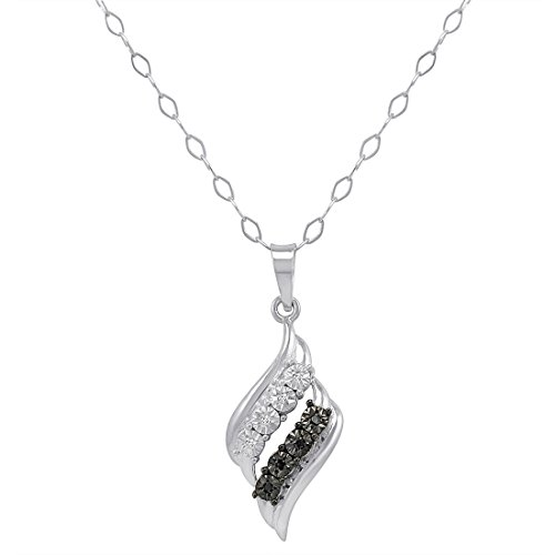 Sterling Silver Black and White Diamond Swirl Pendant-Necklace 18 in. (0.04 Ct Tw Diamond)