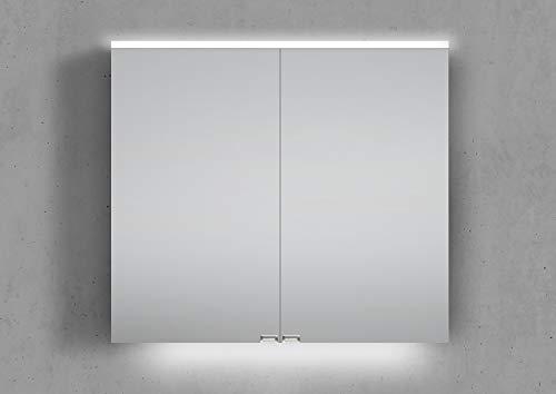 Intarbad ~ Spiegelschrank 80 cm integrierte LED Beleuchtung doppelseitig verspiegelt Grau Matt Lack