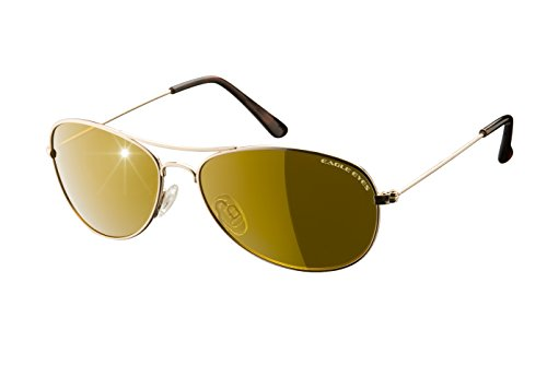 Eagle Eyes Classic Aviator - Gafas de sol (marco de acero inoxidable, lentes polarizadas)