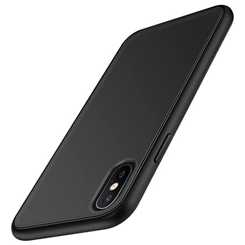 TENDLIN Cover iPhone XS/Cover iPhone X Rigido Opaco Traslucido Resistente Custodia per iPhone XS e X - Nero