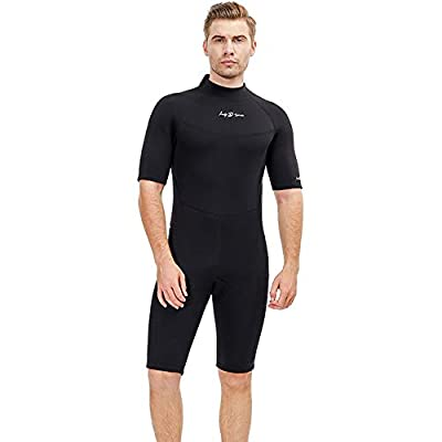 Men's Shorty 3 MM Wetsuit,Backzip Surf Suit Jumpsuit for Scuba Diving, Snorkeling,Surfing and Other Water Sports with Adjustable Collar (Small)
