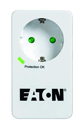 Multi Enchufe/Pararrayos - Eaton Protection Box 1 Tel@ DIN - PB1TD - 1 Enchufe Schuko + 1 Enchufe telefónico - Negro y Blanco