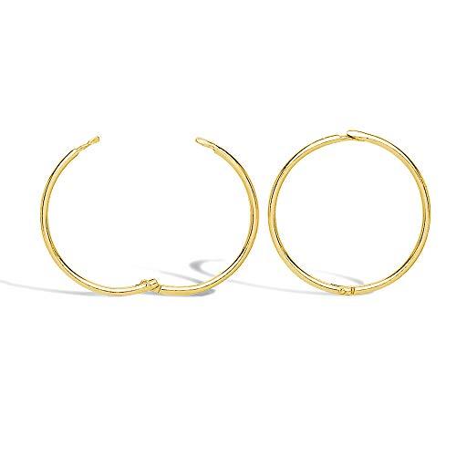 Jewelco London Solid 9ct Yellow Gold Hinged Sleeper 1mm Hoop Earrings 16mm