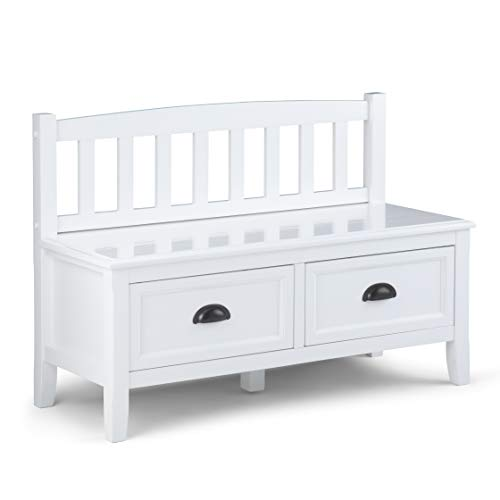 Simpli Home Burlington SOLID WOOD 42 inch Wide Entryway Storage Bench with 2 Drawers, Multifunctional, Traditional, in White