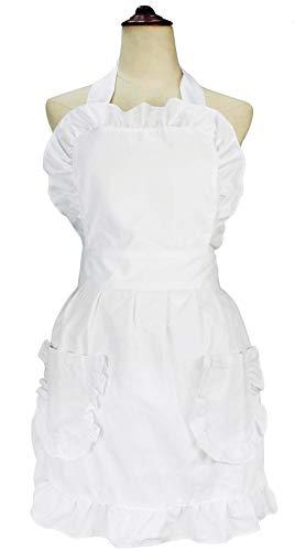 LilMents Damen Rüsche Outline Retro Schürze Küche Kuchen Backen Kochen Cleaning Maid Kostüm Mit Taschen weiß